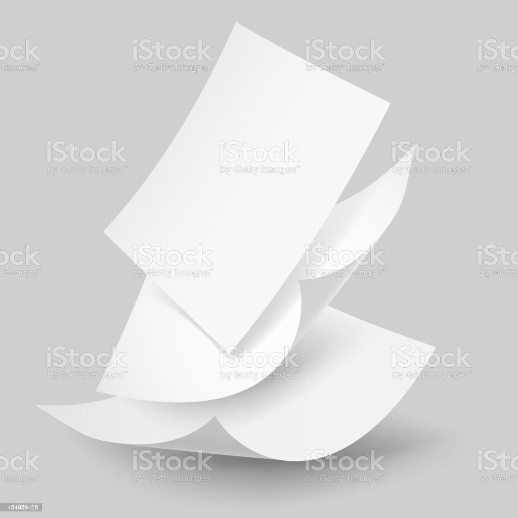 Falling paper sheets. vector art illustration