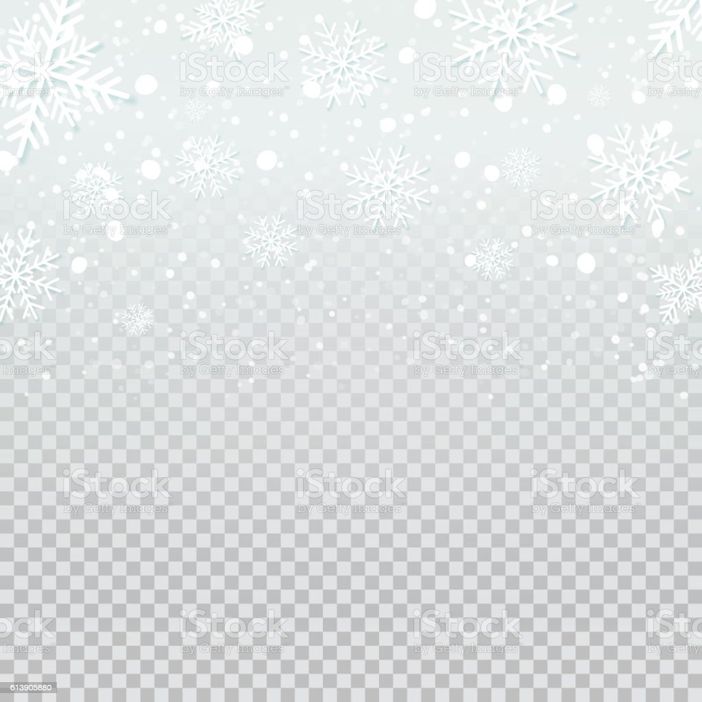 Falling snow backdrop on transparent background. vector art illustration