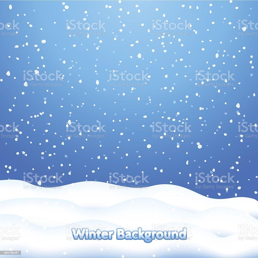 Falling Snow. Blue Winter Background vector art illustration