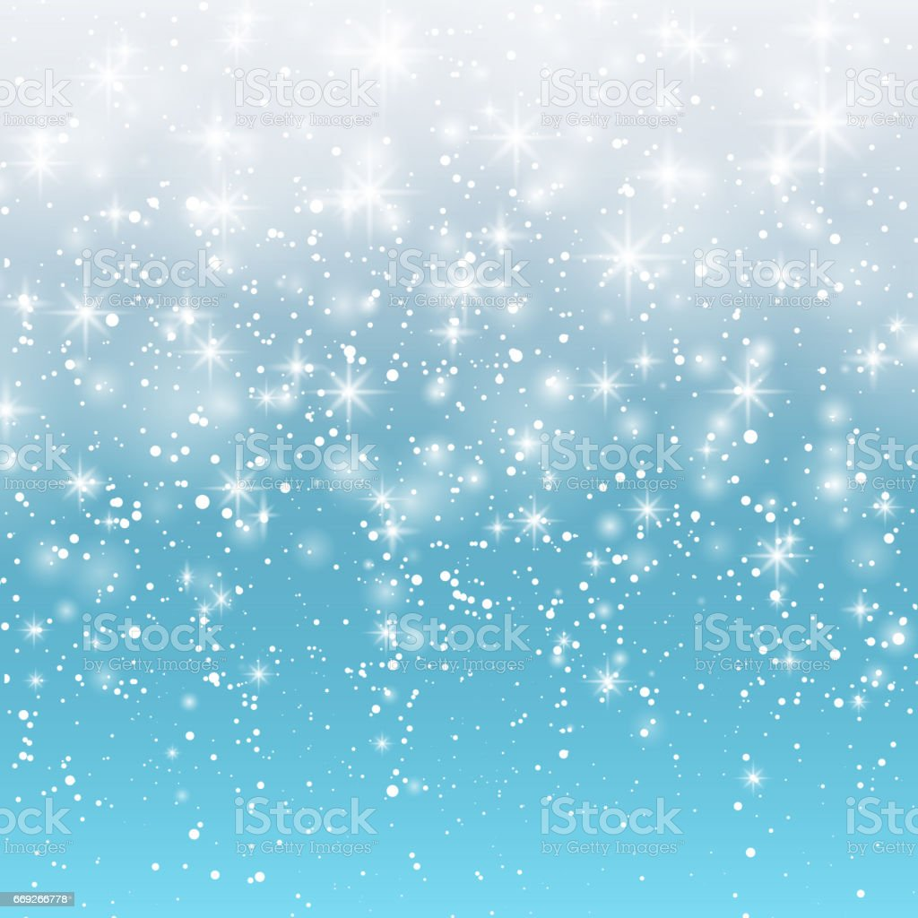Falling snow on a blue background. Vector illustration 10 EPS. Abstract white glitter snowflake background. Magic Christmas eve snowfall. vector art illustration