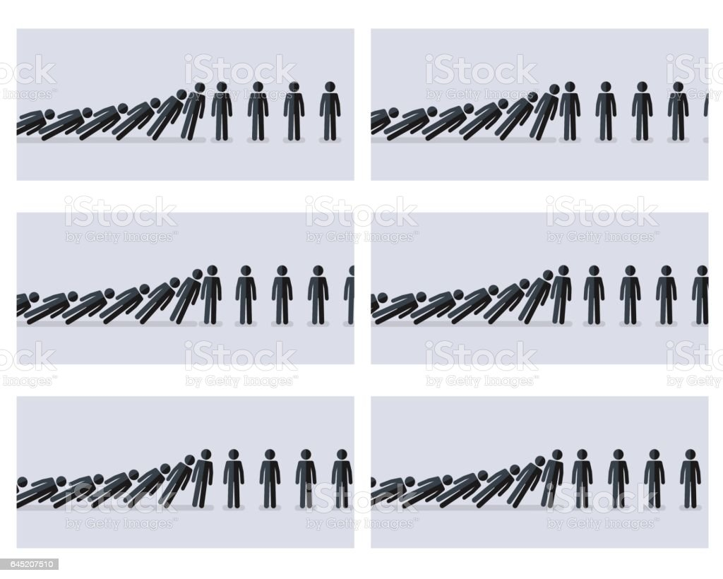 Falling stick figures animation sprite with gray background vector art illustration