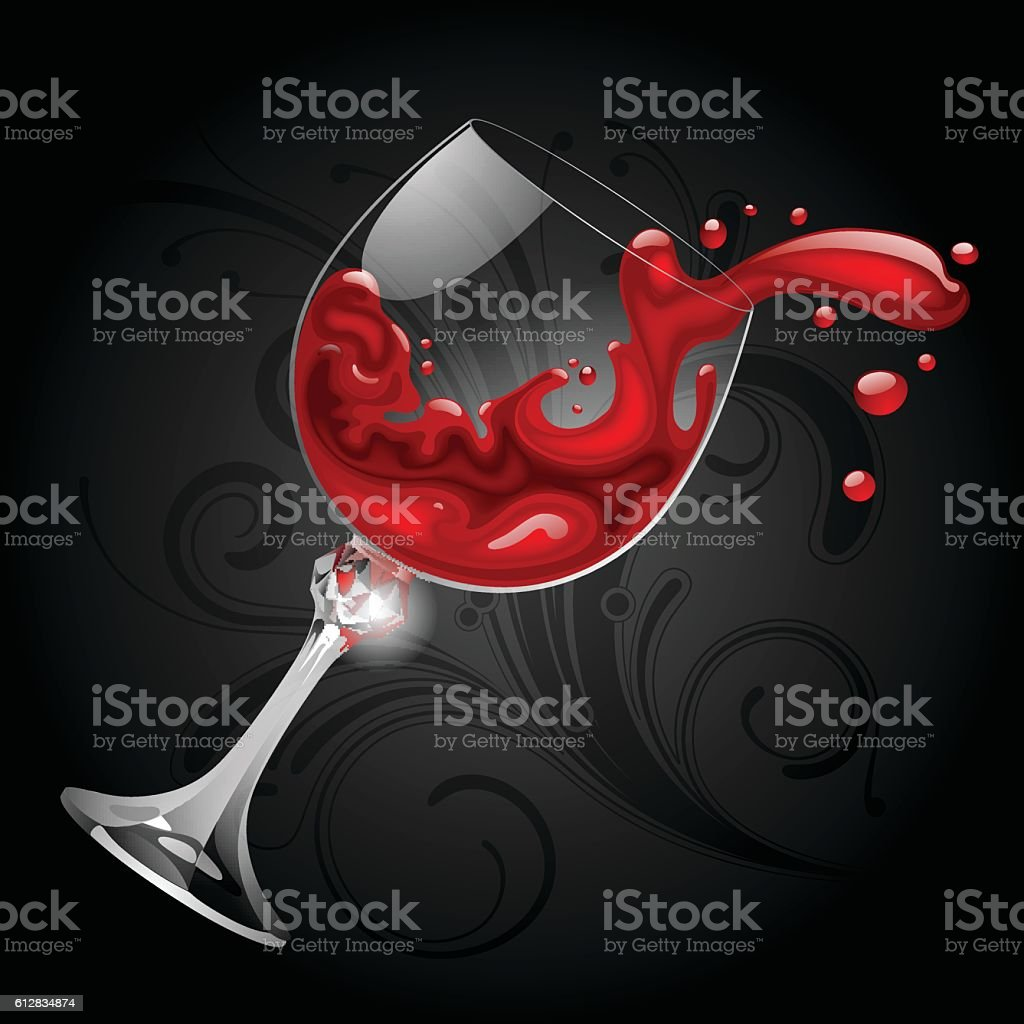 Falling transparent glass with red wine on black background vector art illustration