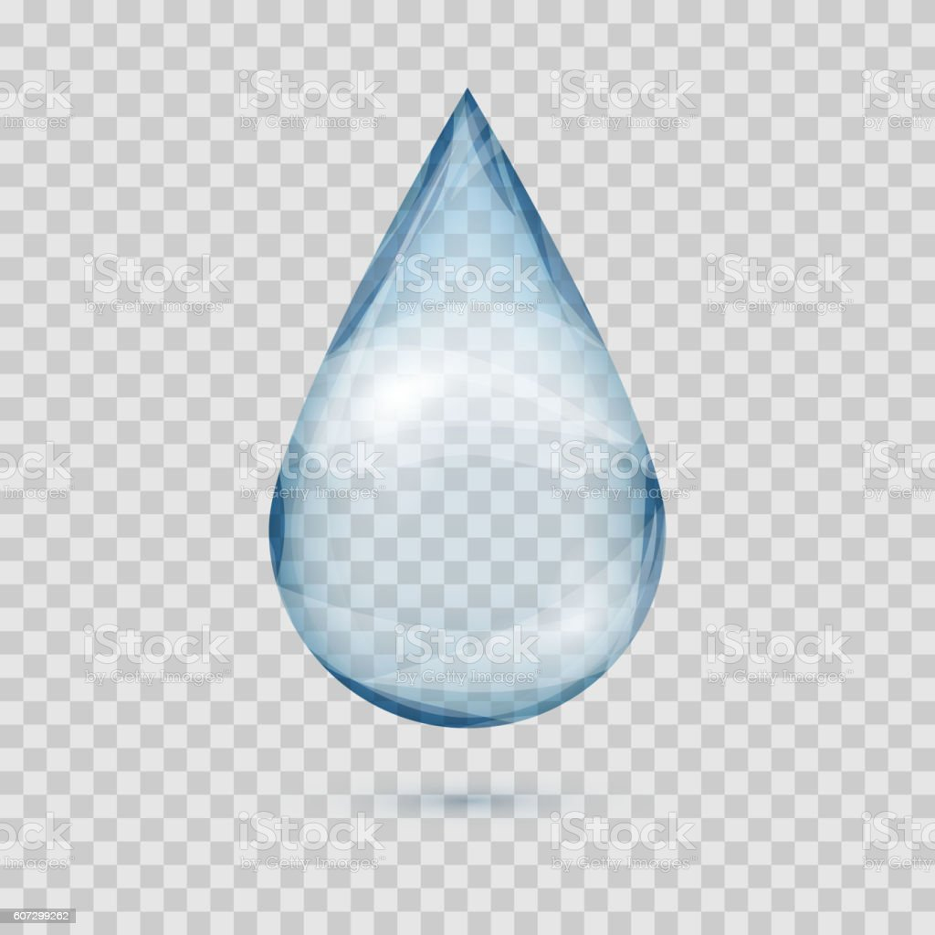 Falling Transparent Water Drop Vector Isolated stock ...