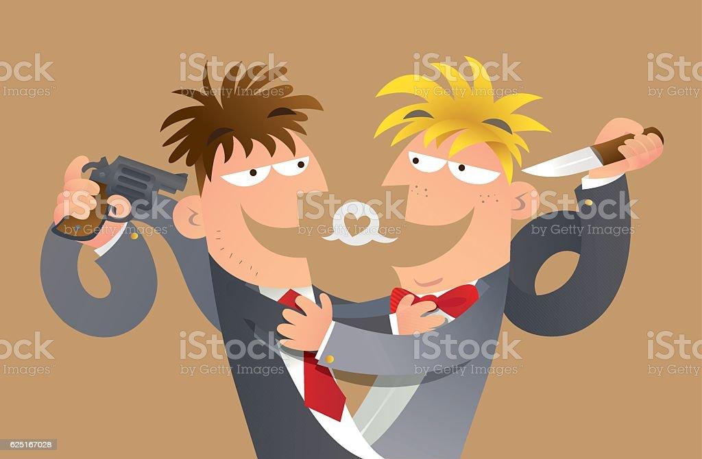 False friends vector art illustration