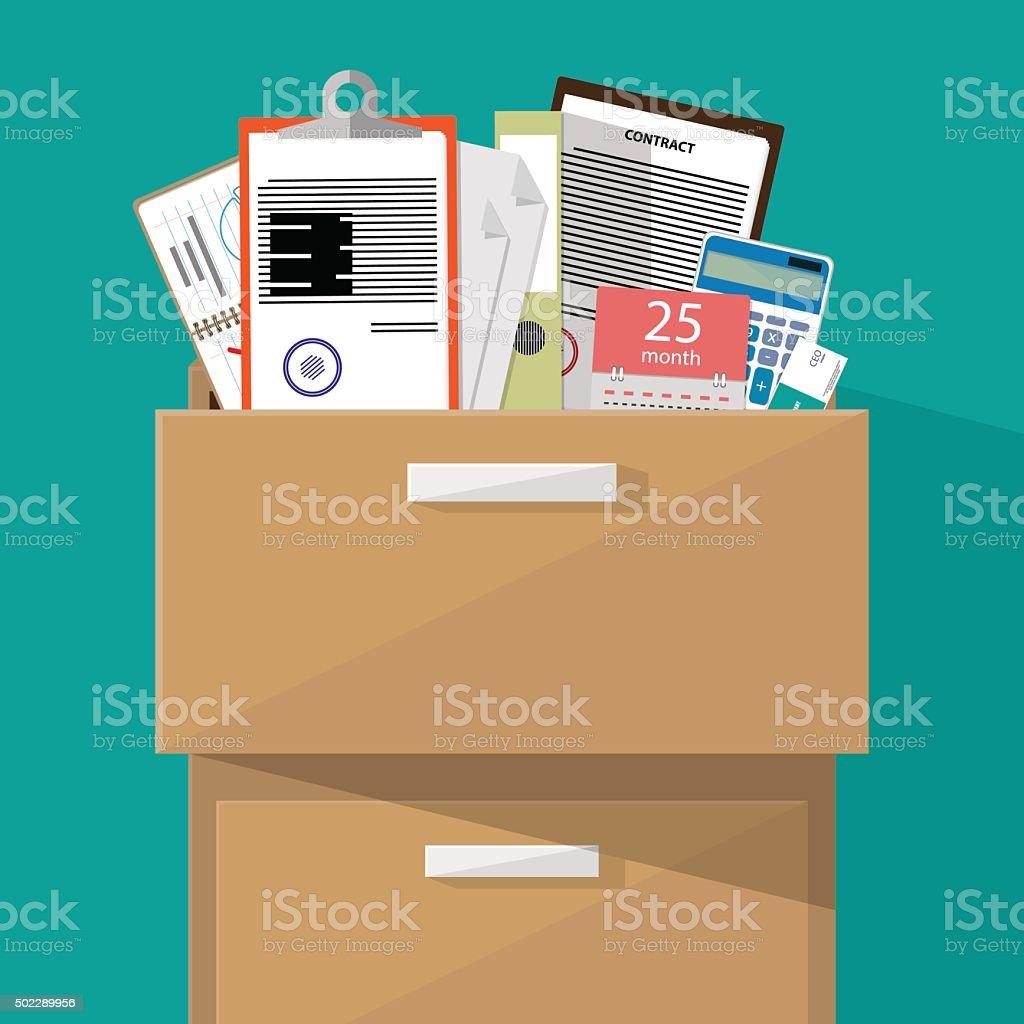 Falt Office furniture vector art illustration