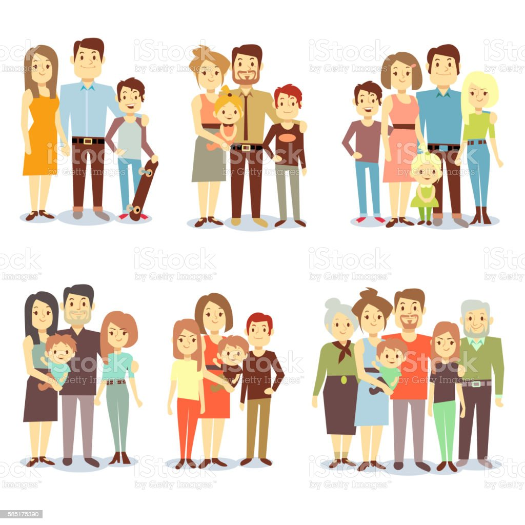 Families different types flat vector icons set vector art illustration