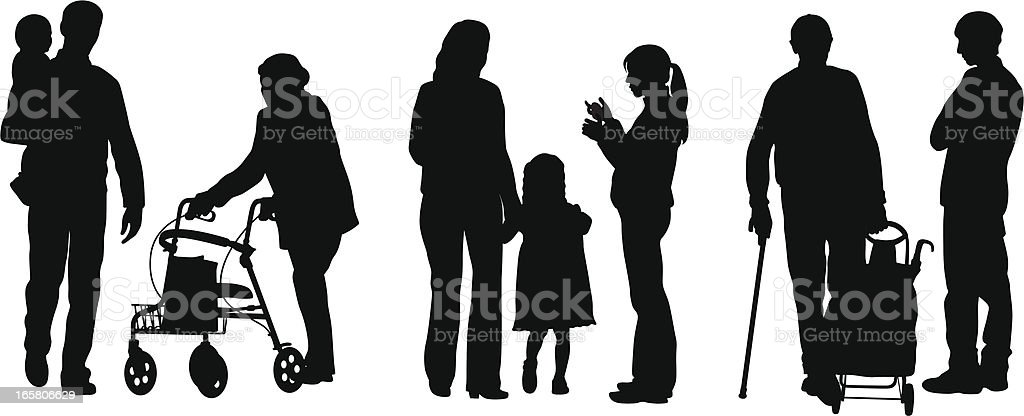 Families Vector Silhouette royalty-free stock vector art