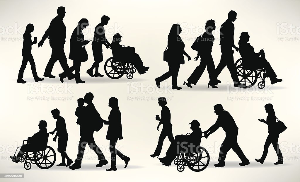 Families with Senior Member in Wheelchair - Aging vector art illustration