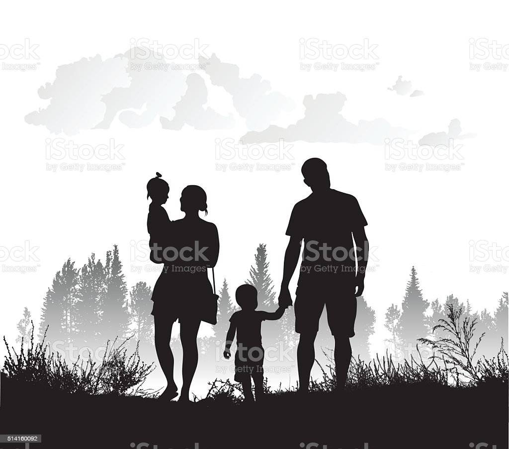 Familiy's Connection With Nature vector art illustration