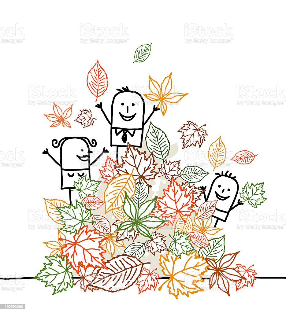 family & fall leaves royalty-free stock photo
