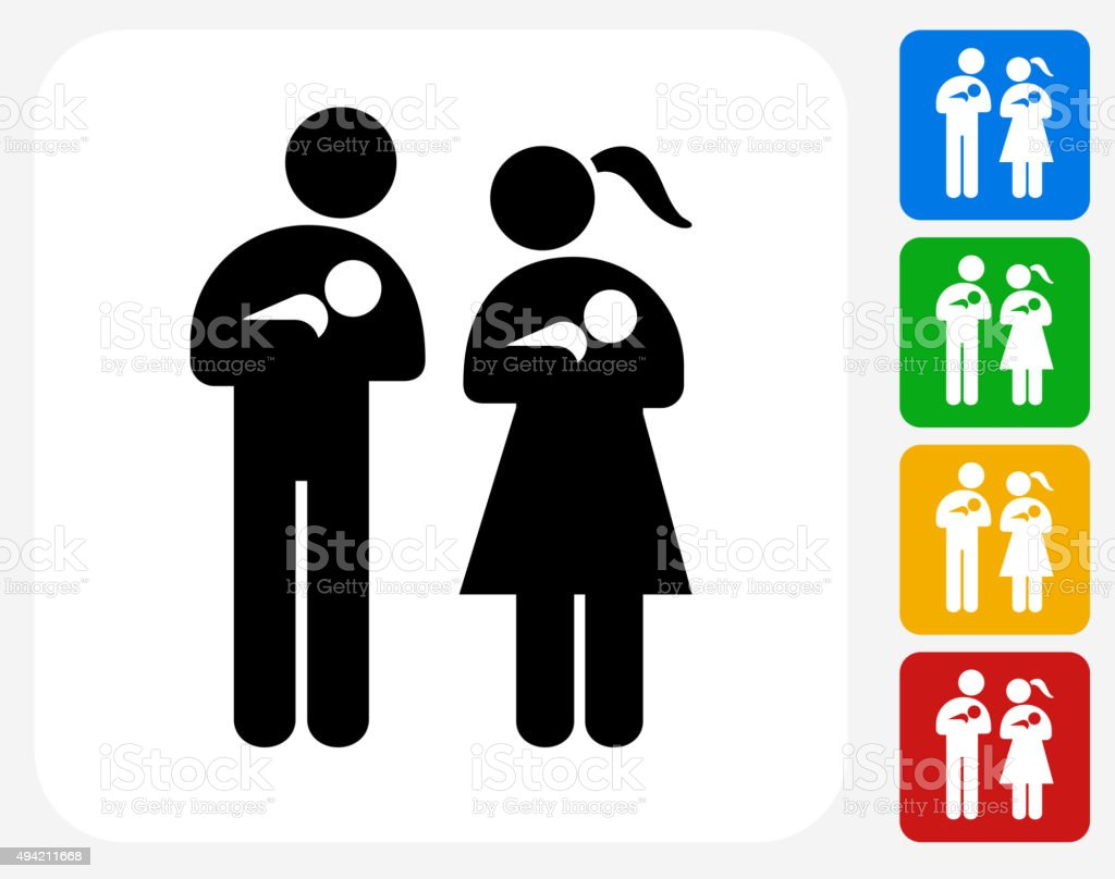 Family and Babies Icon Flat Graphic Design vector art illustration