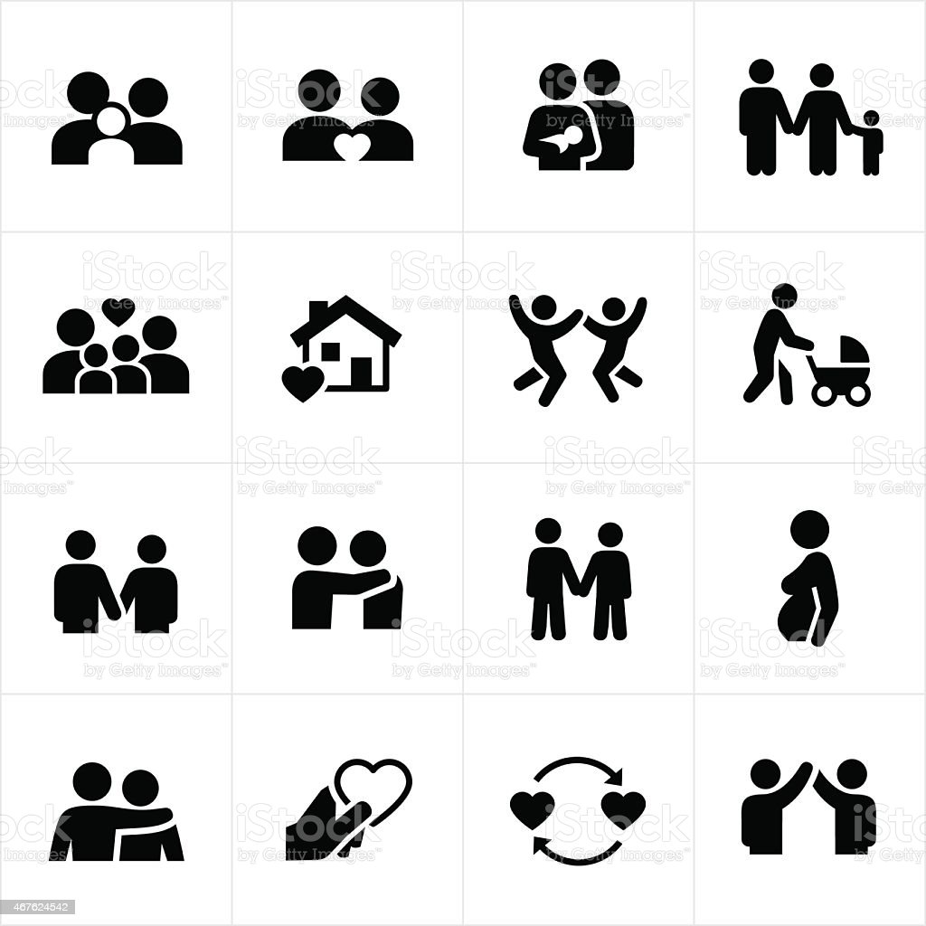Family and Couple Relationships Icons vector art illustration