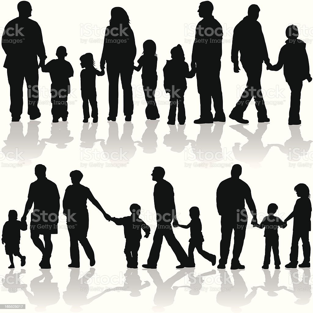 Family and Friends Holding Hands royalty-free stock vector art
