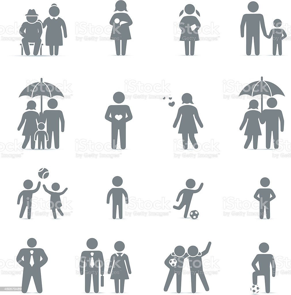 Family and friends icon set vector art illustration