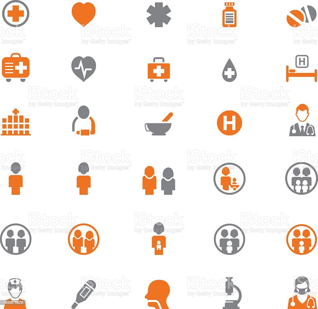 Family and health icons vector art illustration