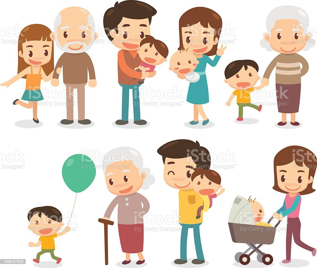 Family and kids vector art illustration