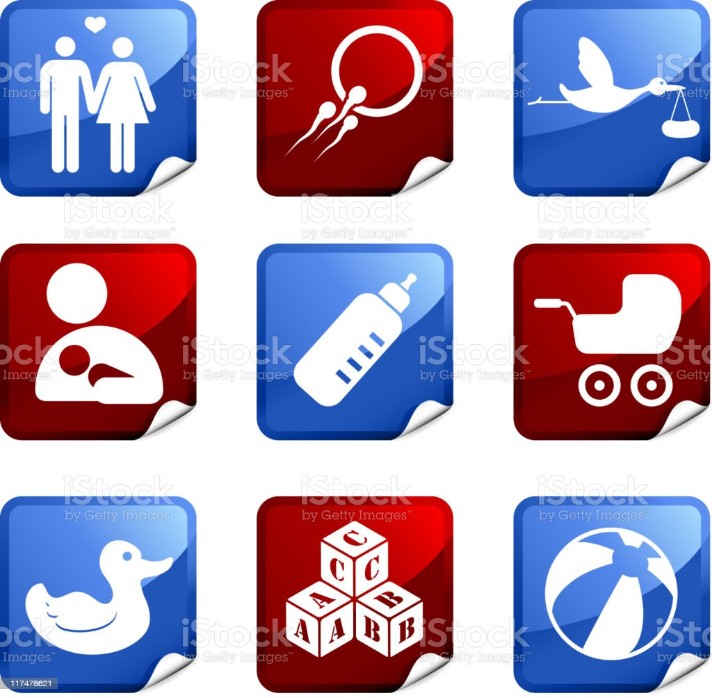 Family and parenting nine royalty free vector icon set royalty-free stock vector art