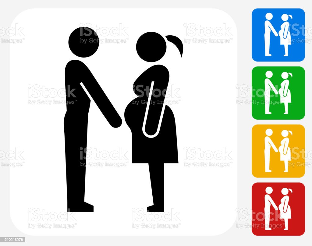 Family and Pregnancy Icon Flat Graphic Design vector art illustration