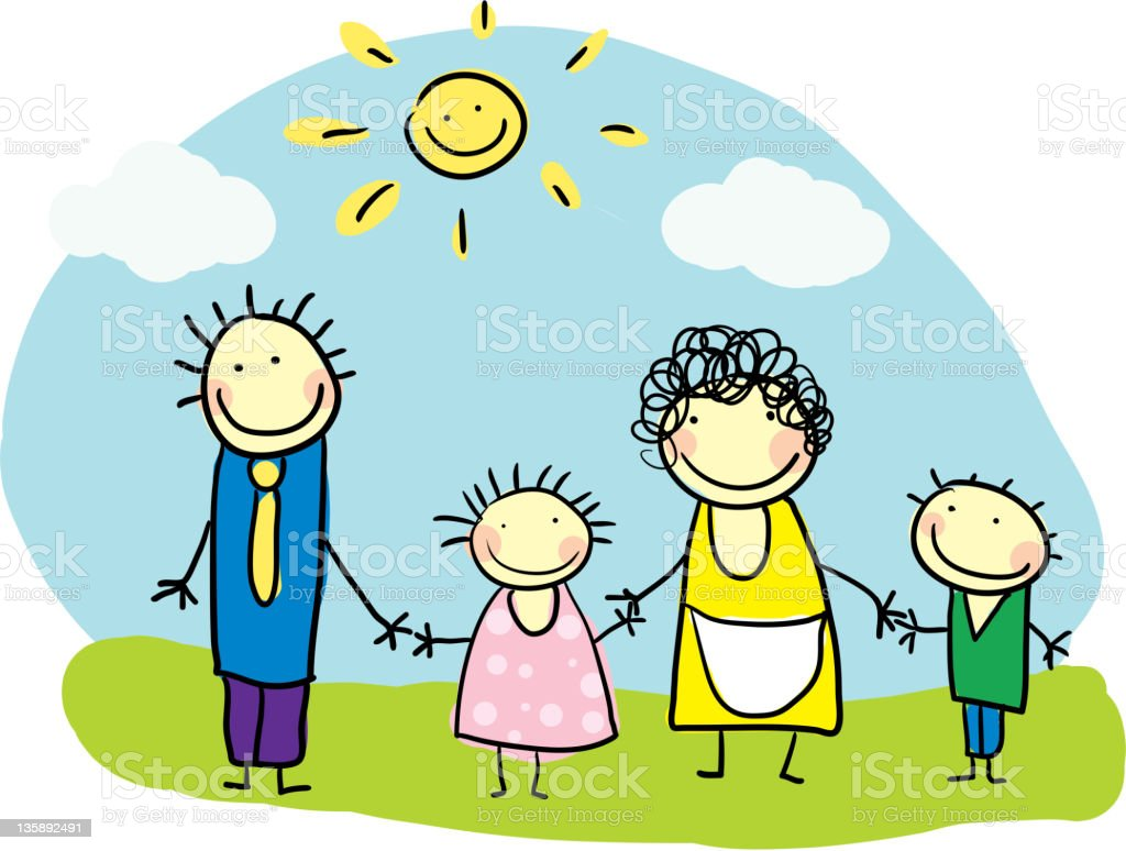Family and sun royalty-free stock vector art