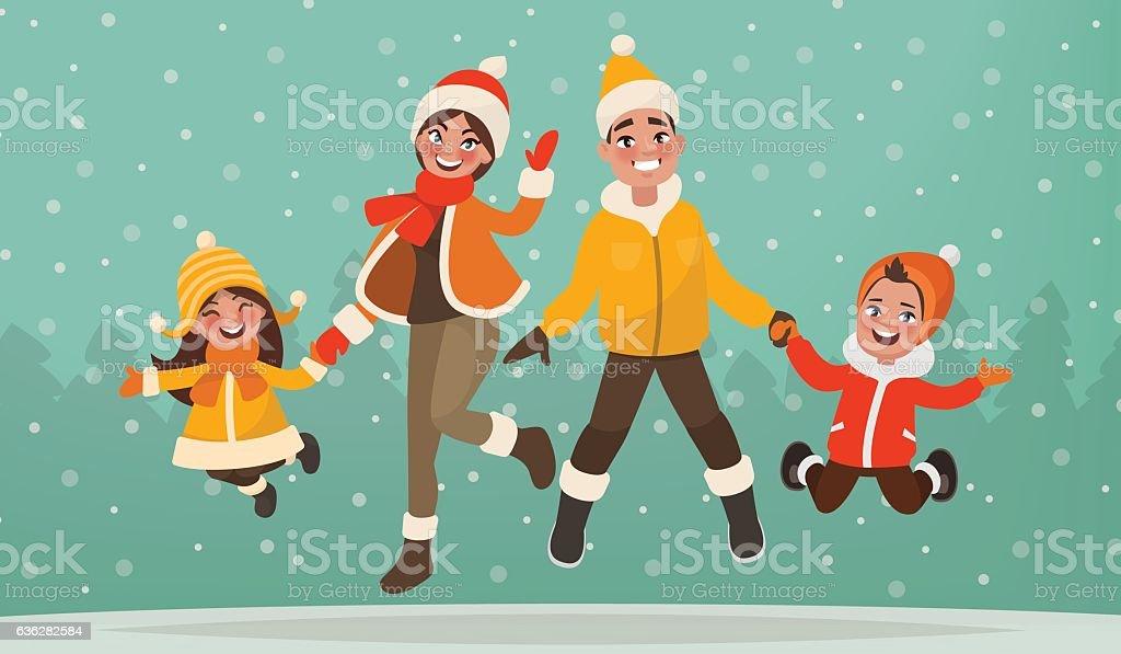 Family are having fun in winter holidays. vector art illustration