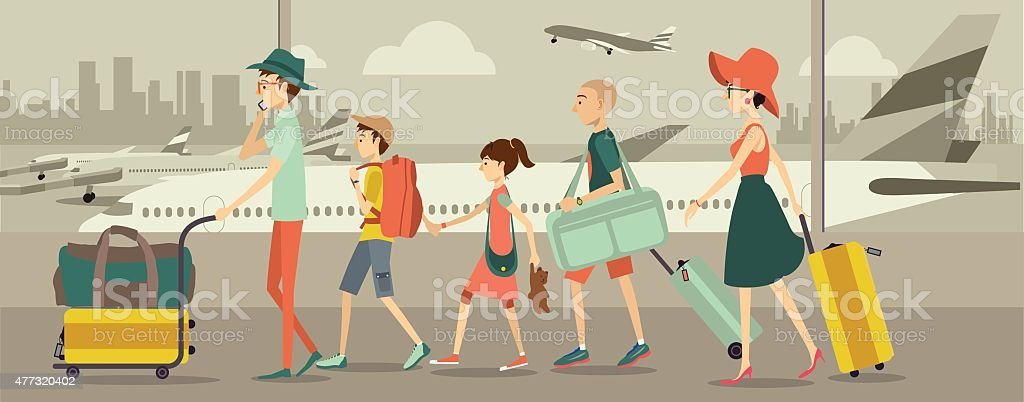 Family at an airport transit vector art illustration