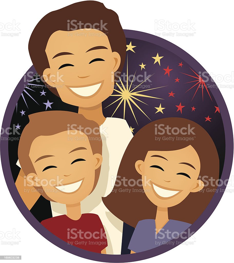Family at an Independence Day  Fireworks Display royalty-free stock vector art