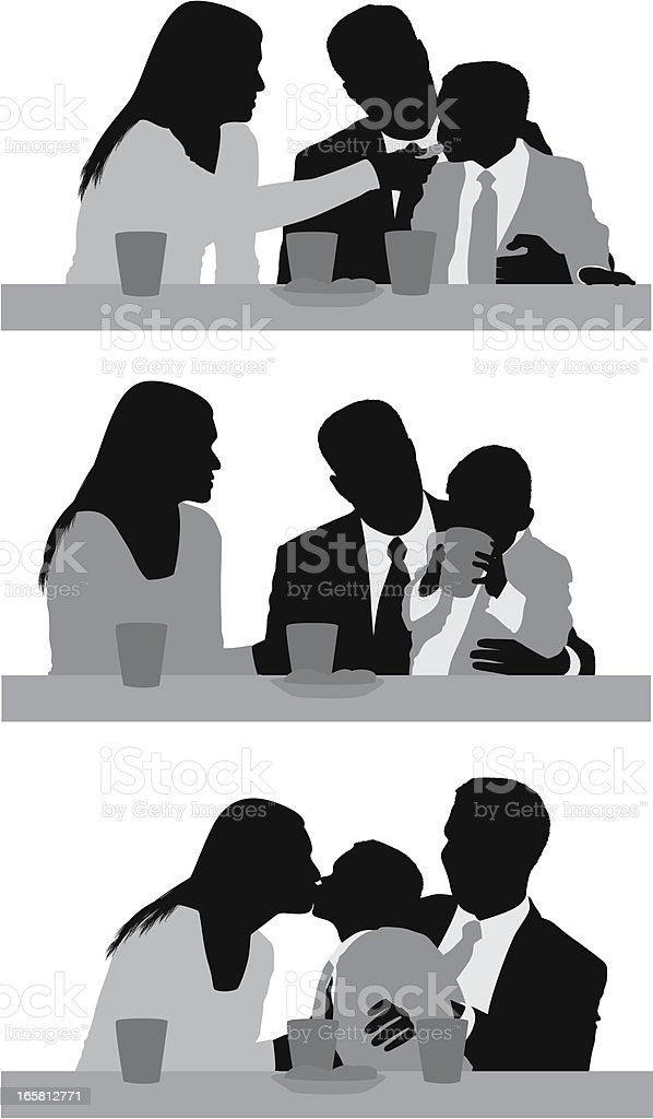 Family at breakfast table royalty-free stock vector art