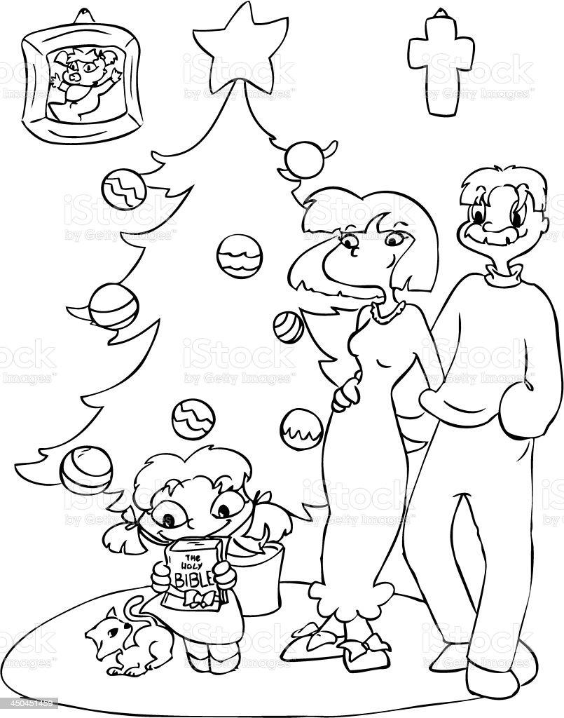 Family at Christmas royalty-free stock vector art
