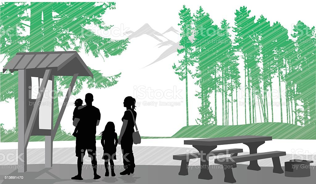 Family At Nature Preserve vector art illustration