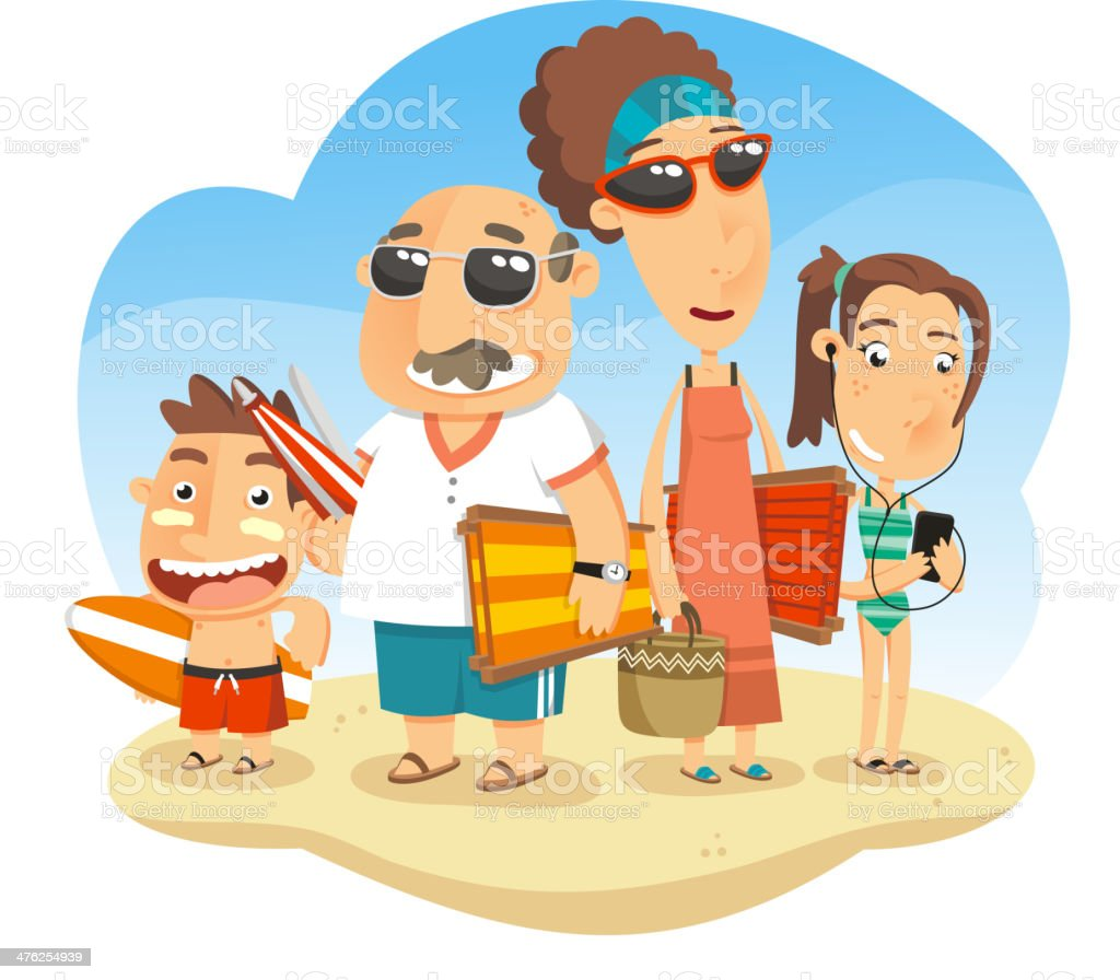 Family at the Beach royalty-free stock vector art