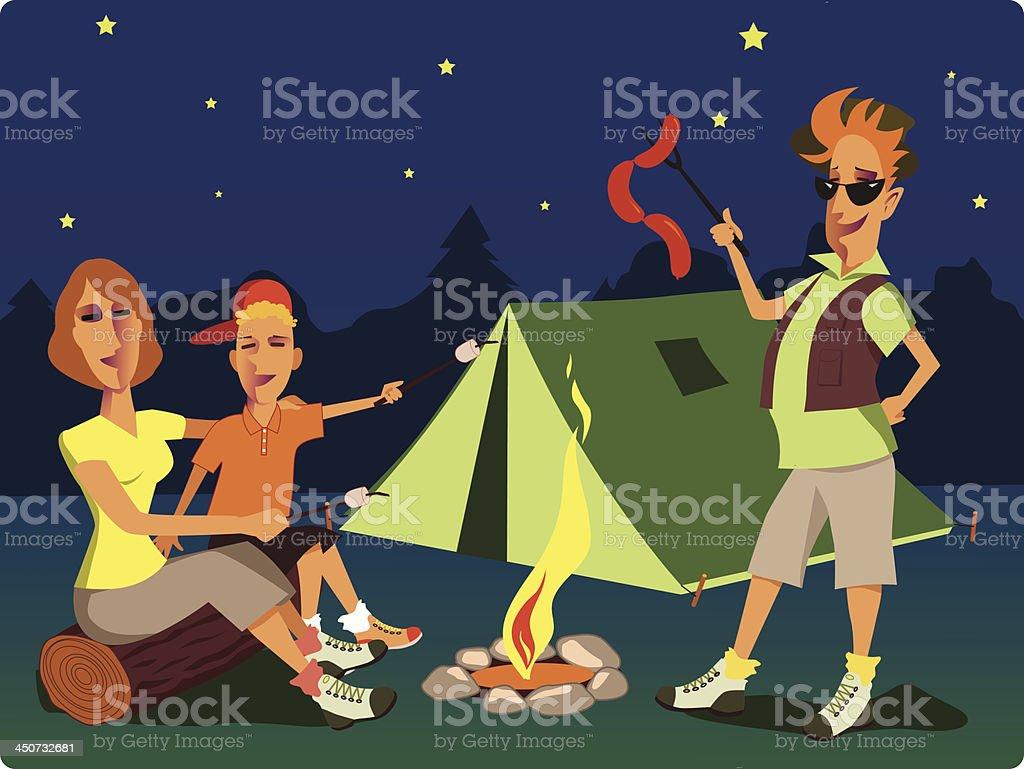 Family at the campfire royalty-free stock vector art