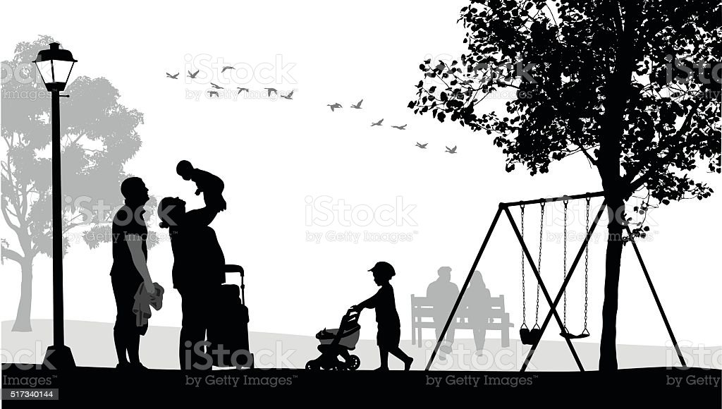 Family At The Park vector art illustration