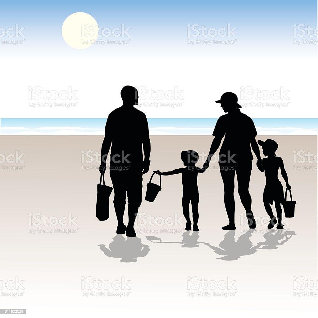 Family At White Sandy Beach vector art illustration