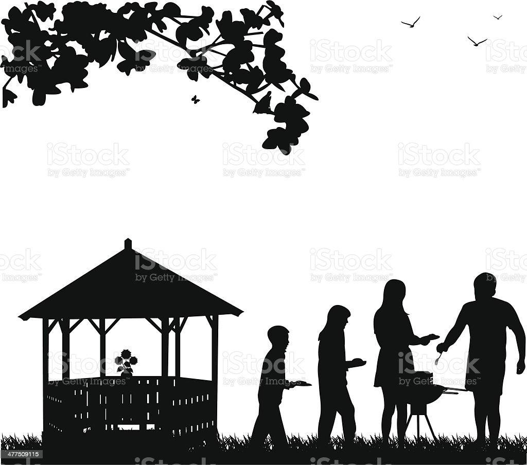 Family barbecue in the garden vector art illustration