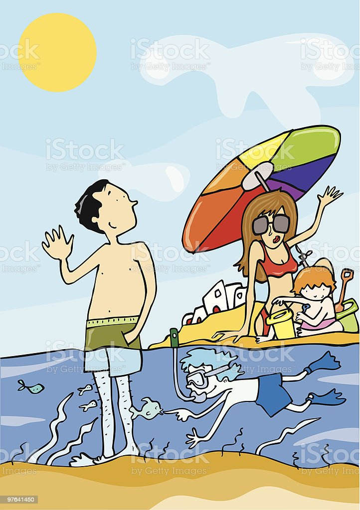 Familia de vacaciones en la playa royalty-free stock vector art