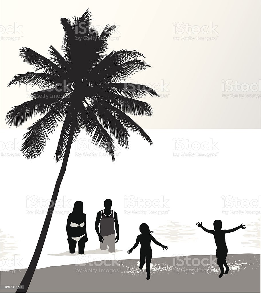 Family Beach Vector Silhouette royalty-free stock vector art