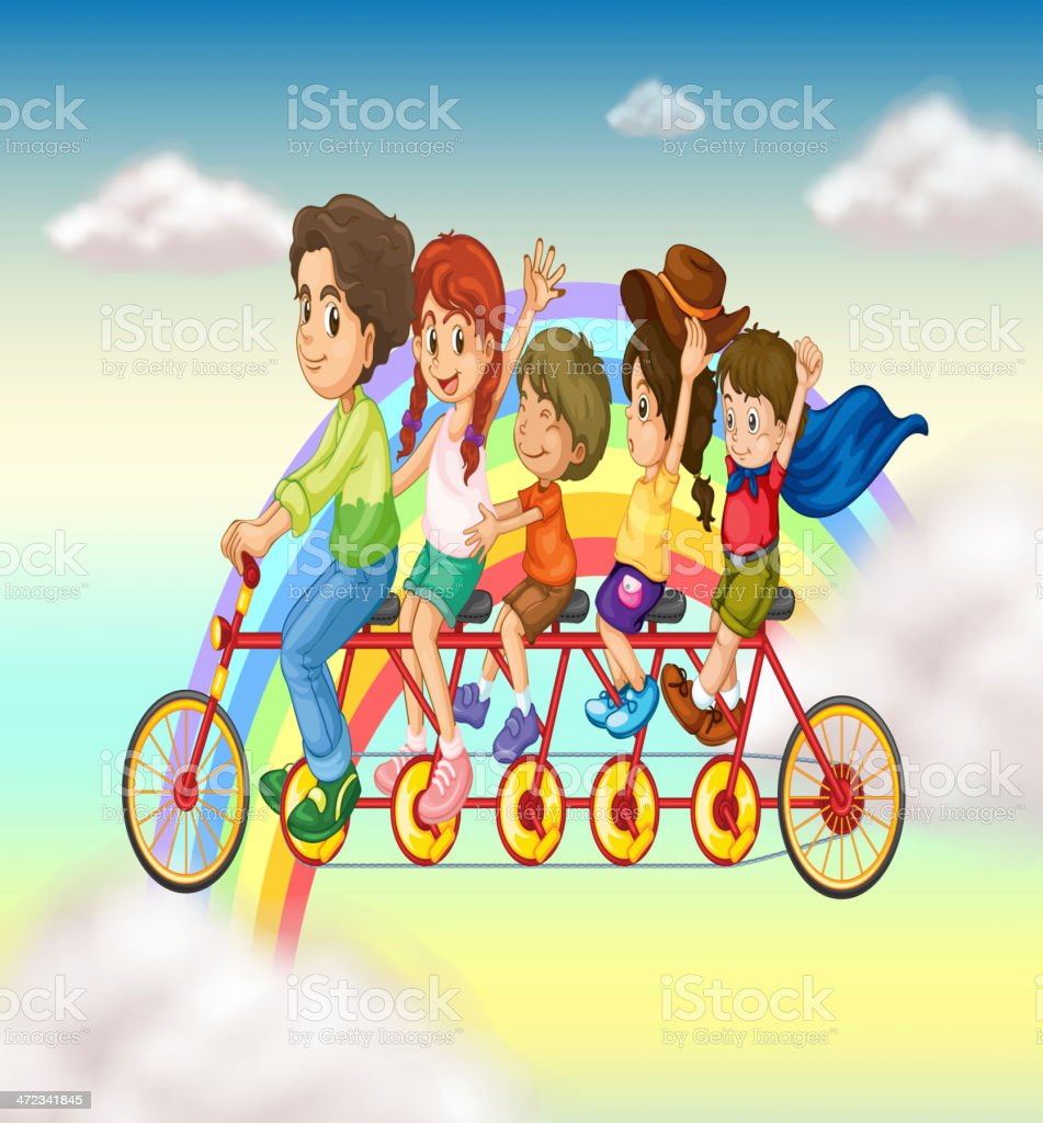 Family bike with a group of people riding royalty-free stock vector art
