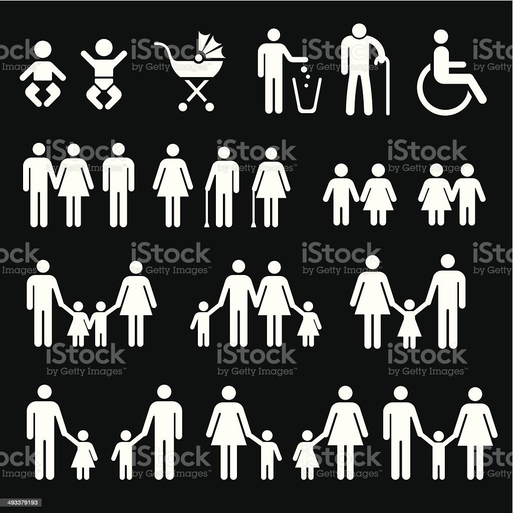 Family black and white icon- Vector vector art illustration