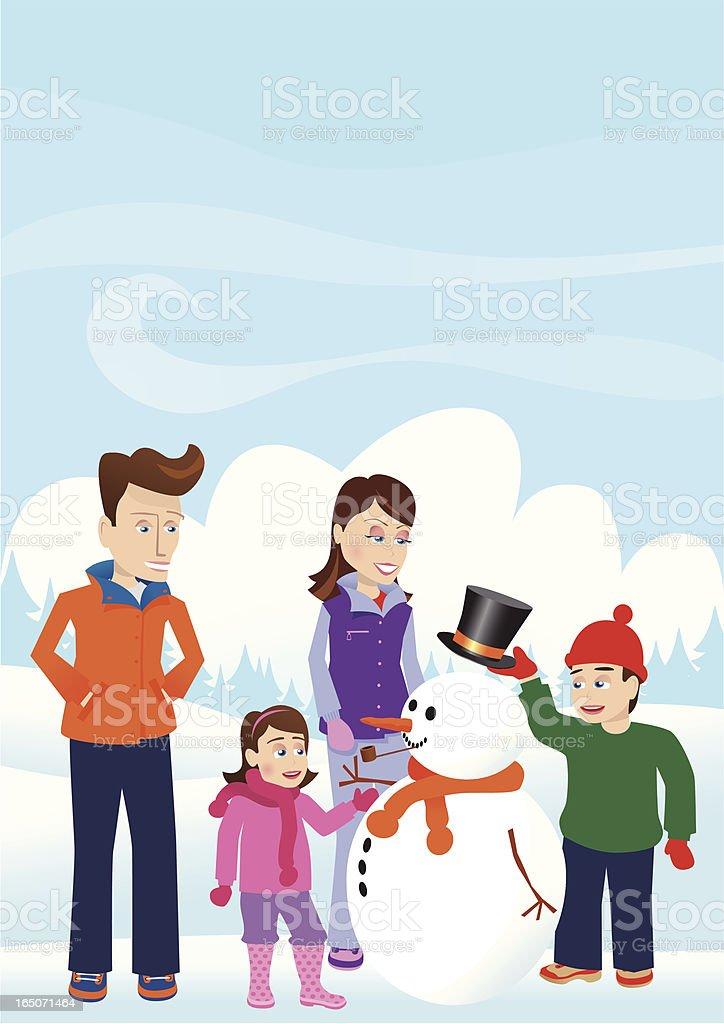Family building a snowman royalty-free stock vector art