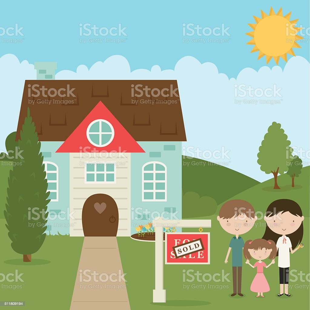 Family Buys New Home vector art illustration