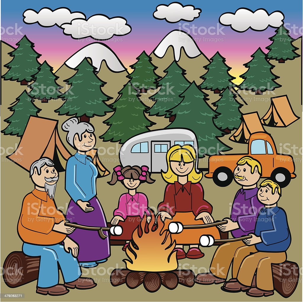 Family Camping and Roasting Marshmallows royalty-free stock vector art