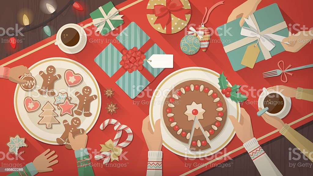 Family celebrating Christmas at home vector art illustration