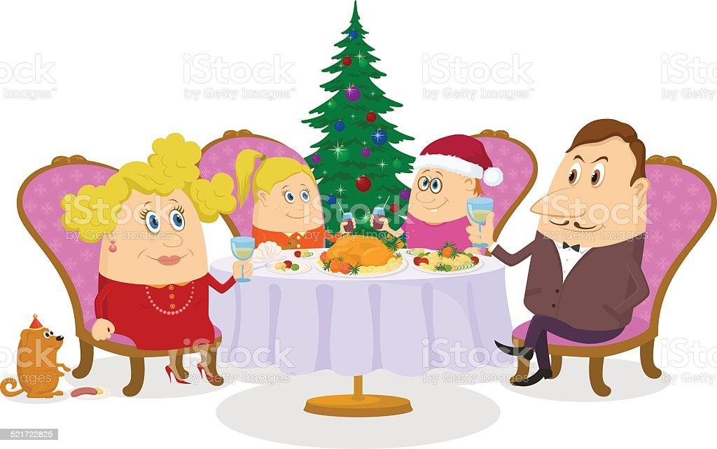 Family celebrating Christmas, isolated vector art illustration