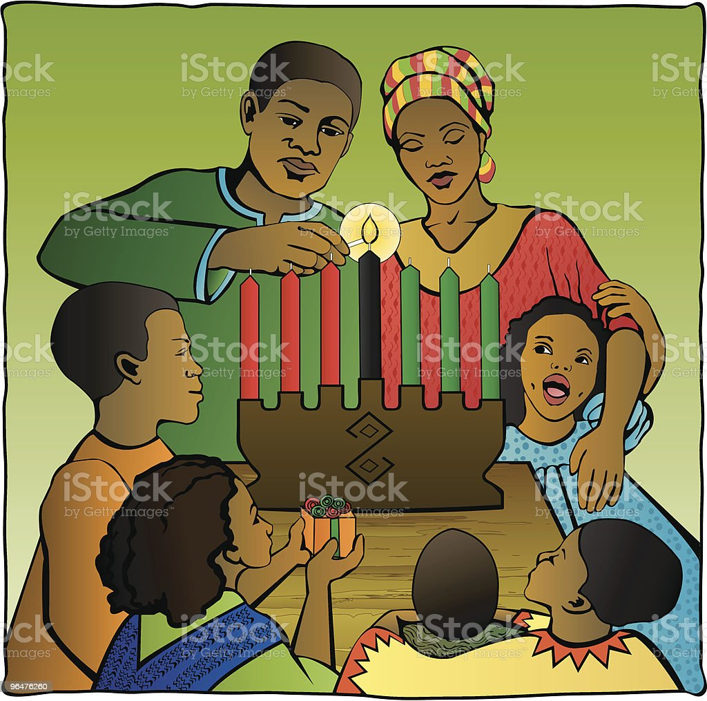 Family Celebrating Kwanzaa vector art illustration