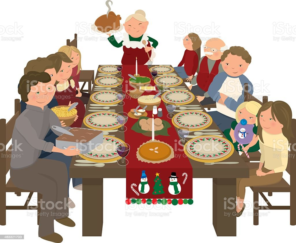 Family Christmas Dinner Table royalty-free stock vector art