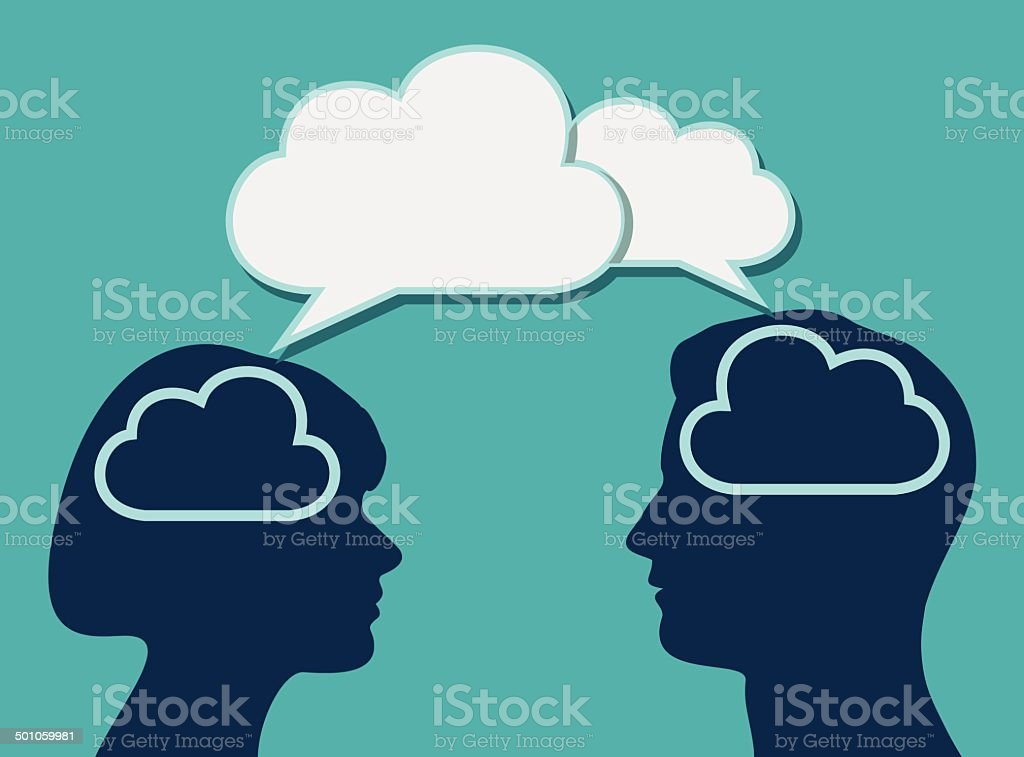 Family Cloud Discussion vector art illustration