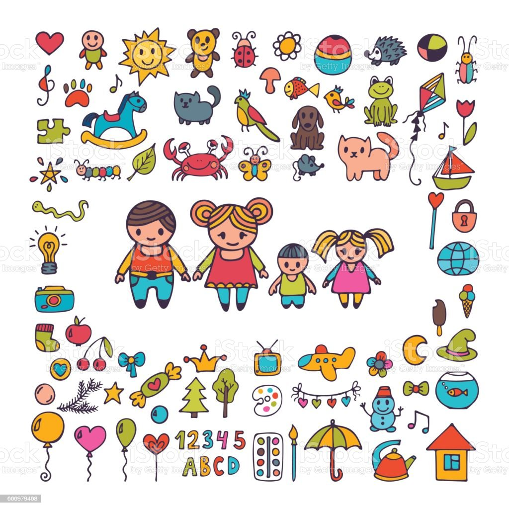 Family. Collection of hand drawn cute doodles. Sketch set of drawings in child style. Doodle children drawing vector art illustration