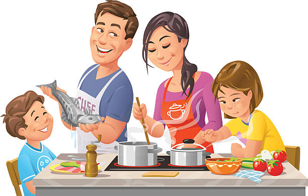 Family Eating Together Clip Art, Vector Images ...