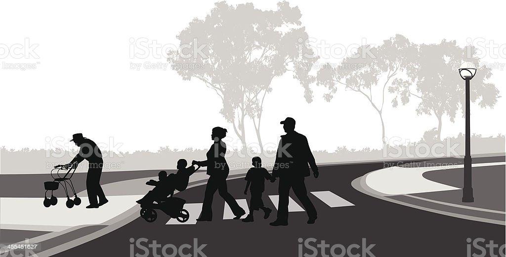 Family Crossing royalty-free stock vector art