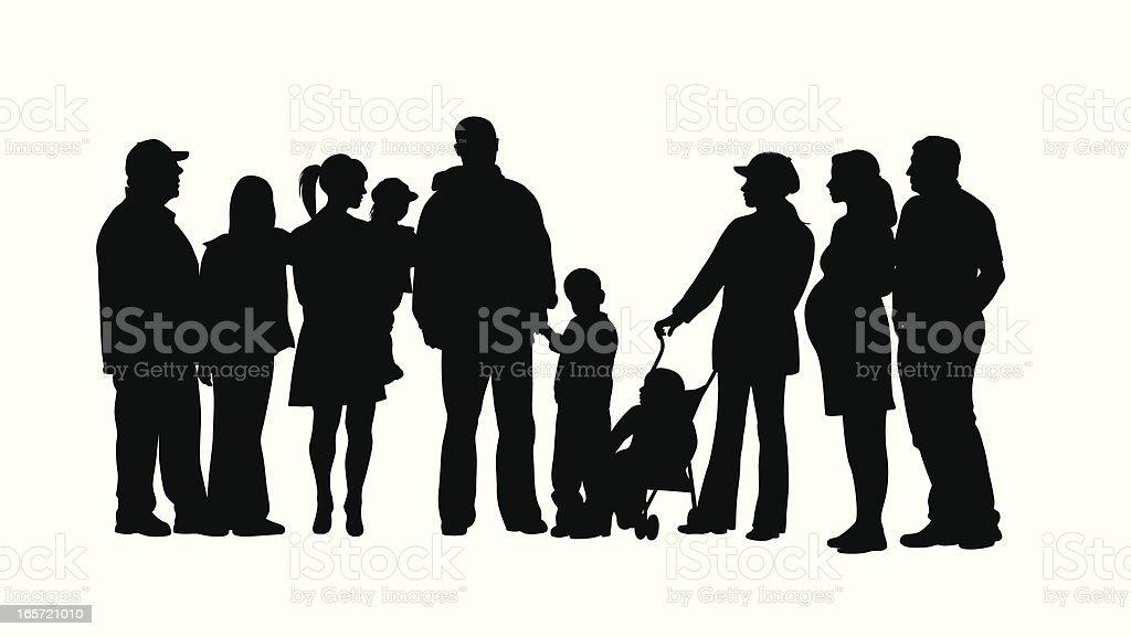 Family Crowd Vector Silhouette vector art illustration